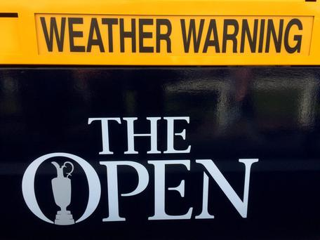 A weather warning sign as high winds suspend play during a Golf in the Olympic Games press conference during day three of The Open Championship 2015 at St Andrews