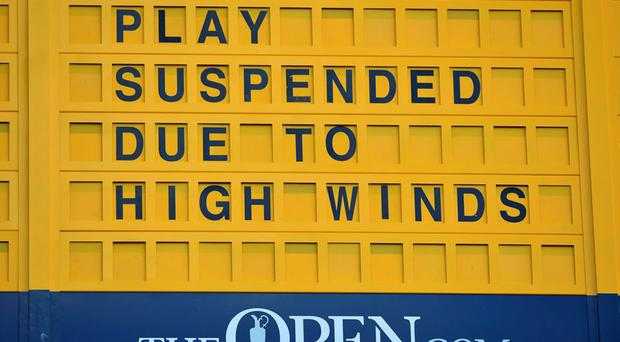 A sign from St Andres today as play was suspended yet again at The Open