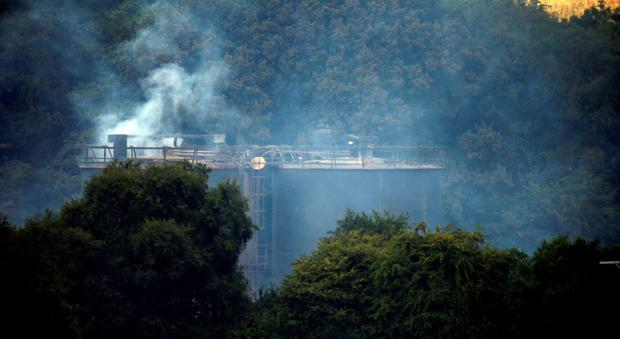 Smoke rises from the scene of an explosion and fire where four people are still missing at Wood Flour Mills in Bosley, Cheshire. Peter Byrne/PA Wire