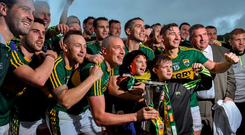 The Kerry team celebrate with the cup after the game. Munster GAA Football Senior Championship Final Replay, Kerry v Cork, Fitzgerald Stadium, Killarney, Co. Kerry. Picture credit: Stephen McCarthy / SPORTSFILE