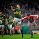 David Moran, Kerry, in action against Fintan Goold, Cork during the Munster GAA Football Senior Championship Final Replay, Kerry v Cork (Brendan Moran / Sportsfile)