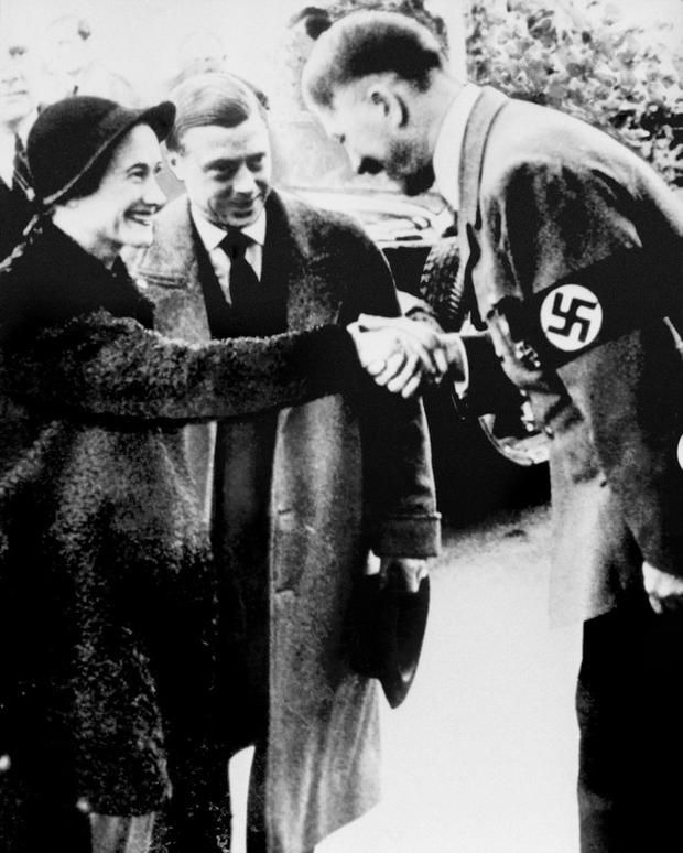 The Duke and Duchess of Windsor meet with German leader Adolf Hitler in Munich.