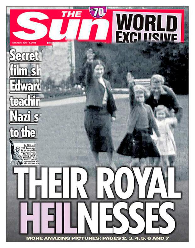 Handout photo taken from the Twitter feed of @TheSun of The Sun front page showing a still of footage from 1933 that shows a young Queen performing a Nazi salute with her family at Balmoral. PRESS ASSOCIATION Photo. Issue date: Friday July 17, 2015. See PA story ROYAL Queen. Photo credit should read: TheSun/Twitter/PA Wire NOTE TO EDITORS: This handout photo may only be used in for editorial reporting purposes for the contemporaneous illustration of events, things or the people in the image or facts mentioned in the caption. Reuse of the picture may require further permission from the copyright holder.