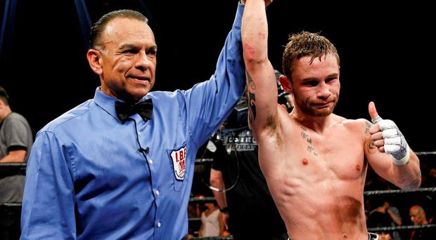 Carl Frampton is announced victorious over Alejandro Gonzales Jr following their IBF Super-Bantamweight Title Fight in El Paso, Texas.