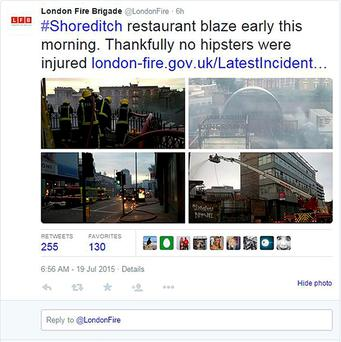Screen grab image taken from the Twitter feed of London Fire Brigade as they apologised