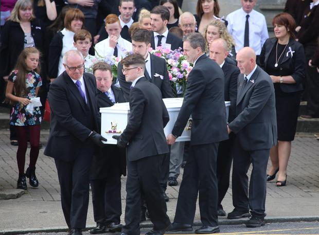 Family of the late Tory Johnton leaving St Eunan's Cathedral after her requiem mass Credit: North West Newspix