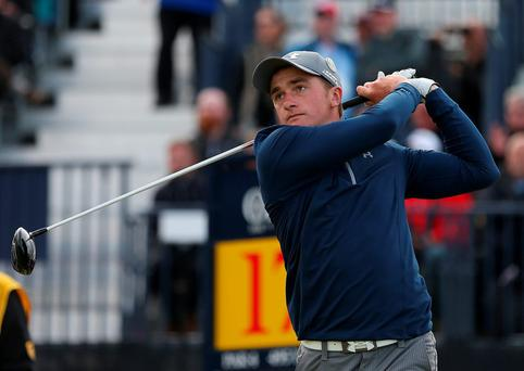 Paul Dunne tees off 17 during day four of The Open Championship 2015 at St Andrews