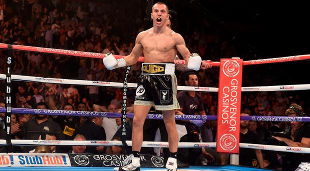 Scott Quigg after winning his WBA World Super Bantamweight Championship fight against Kiko Martinez at Manchester Arena, Manchester