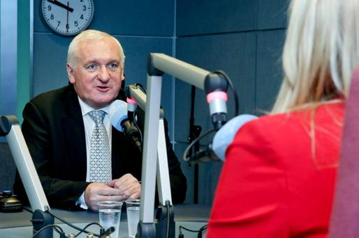 Ex-Taoiseach Bertie Ahern is interviewed by Miriam O'Callaghan on RTE Radio 1 yesterday. Photo: Maxwells