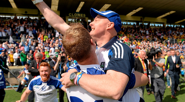 Monaghan manager Malachy O'Rourke celebrates with Eoin Lennon after the game
