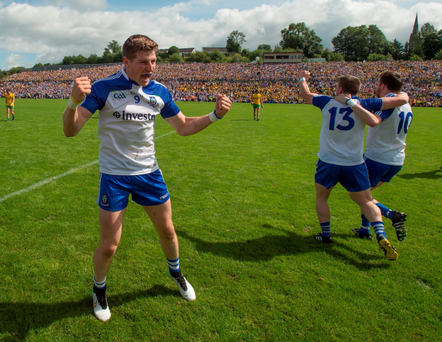 Darren Hughes, Monaghan, celebrates following his side's victory during the Ulster GAA Football Senior Championship Final, Donegal v Monaghan, at St Tiernach's Park
