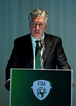 John Delaney addressing delegates at the FAI's annual general meeting