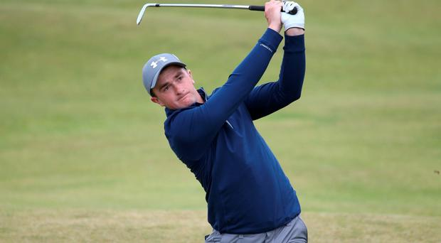 Paul Dunne plays an approach on the fourth hole at St Andrews