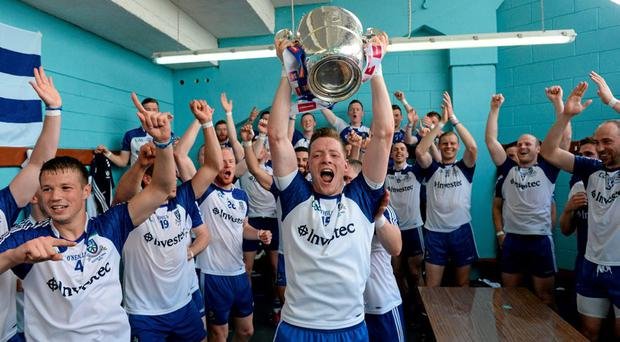 19 July 2015; Monaghan captain Conor McManus and his team-mates celebrate in the dressingroom with the Anglo Celt cup.