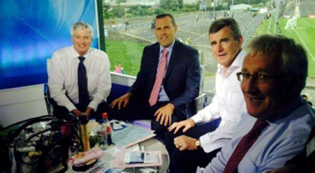 Michael Lyster back in studio with colleagues Ciaran Whelan, Colm O'Rourke and Pat Spillane