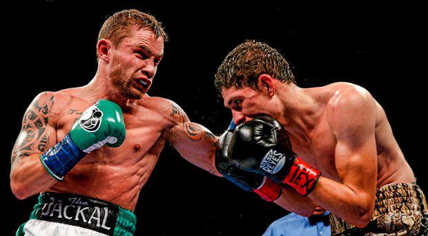 Carl Frampton, left, exchanges punches with Alejandro Gonzales Jr during their IBF Super-Bantamweight Title Fight. Don Haskins Convention Center, El Paso, Texas, USA