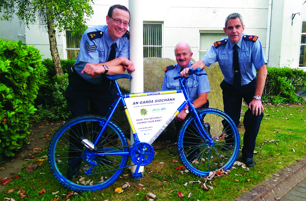 The Info Bike is pictured with Sergeant Seamus Ryan; Inspector Tom Condon and Superintendent Martin Fitzgerald. Photo: Garda Review