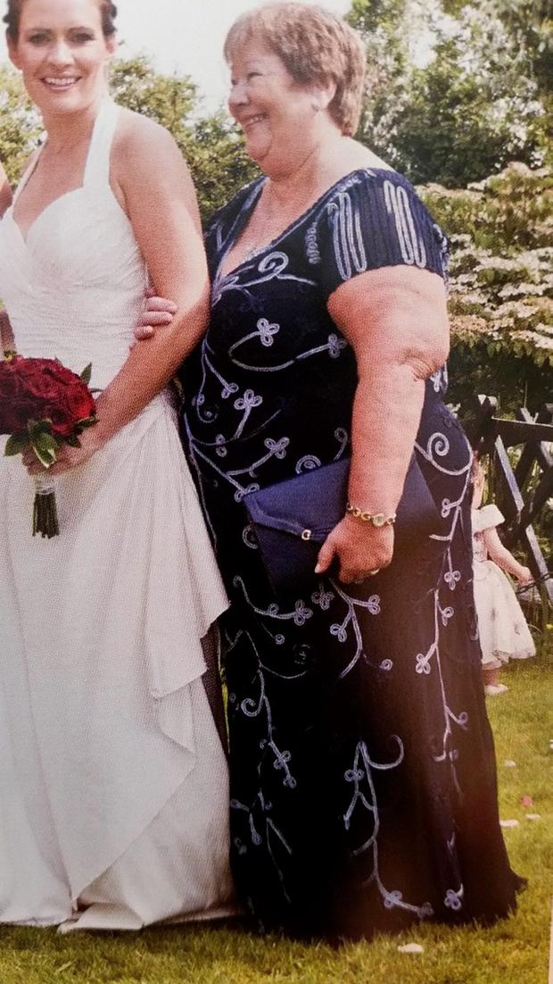 Winnie pictured before her weight loss at her daughter's wedding