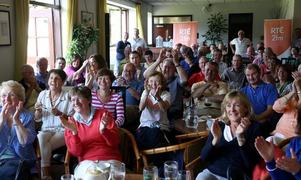 20/07/15 pictured watching Paul Dunne playing in the British Open at his local club, Greystones Golf Club this afternoon.. Picture Colin Keegan, Collins Dublin.