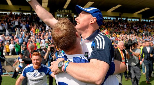 Monaghan manager Malachy O'Rourke celebrates with Eoin Lennon after beating Donegal