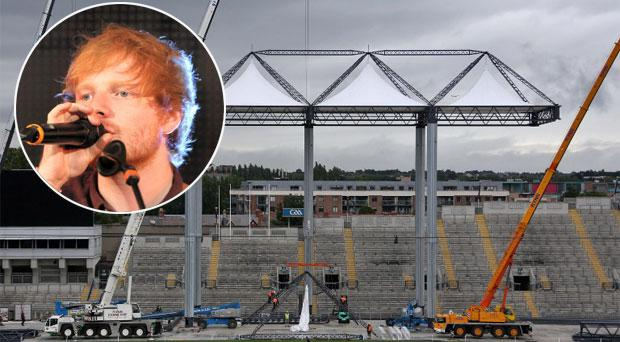 Ed Sheeran, inset, Croke Park in advance of the gigs
