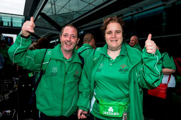 Team Ireland's Francis Power, a member of Navan Arch Club, from Navan, Co Meath, and Carole Catling, a member of Abbotscross Special Olympics club, from Newtownabbey, Co. Antrim, ahead of departing for the Special Olympics World Summer Games in Los Angeles, United States. Terminal 2, Dublin Airport, Dublin. Picture credit: Ray McManus / SPORTSFILE