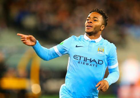 Raheem Sterling of Manchester City celebrates scoring a goal during the International Champions Cup friendly match between Manchester City and AS Roma at the Melbourne Cricket Ground