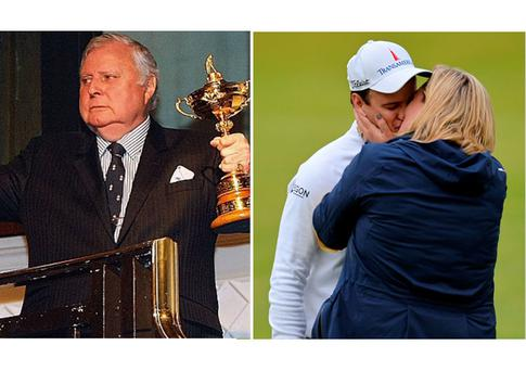 Peter Alliss and (right) Zach Johnson and his wife Kim after Open win