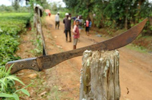 More than a dozen locals carrying machetes dragged the women from her bed