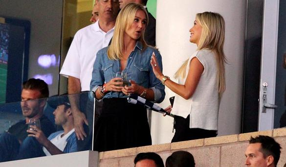 Claudine Keane chatting to Alex Gerrard with David Beckham in the background. Picture: Splash News