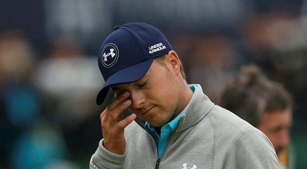 Jordan Spieth of the U.S. wipes his eye on the 18th green after completing his final round of the British Open golf championship on the Old Course in St. Andrews, Scotland, July 20, 2015