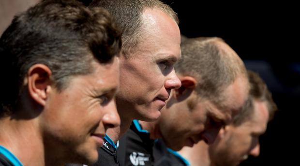 Nicolas Roche alongside Chris Froome at a press conference in Sisteron on the final rest day of the Tour De France