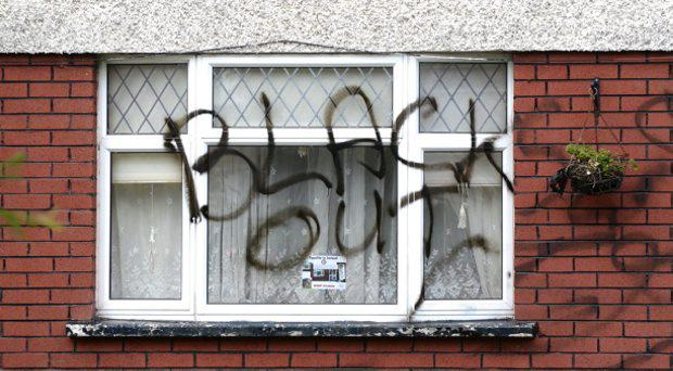20/07/15. The racist graffiti at No.14 Lealand Ave.Clondalkin. Pic: Justin Farrelly.