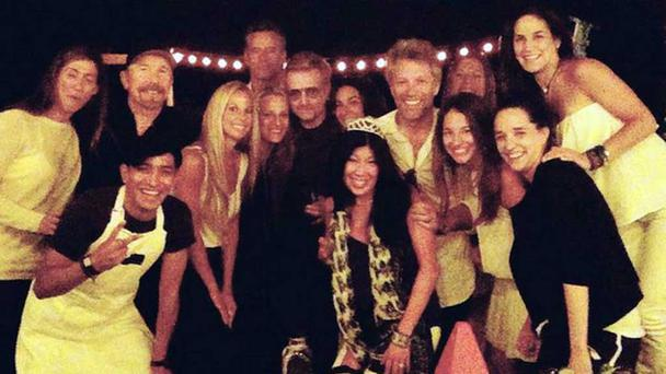 Bono, The Edge and Bon Jovi crash hen party in New York . Picture: Twitter