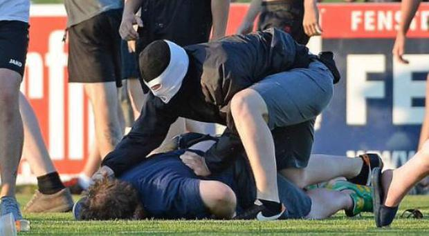 Fans from Leeds and Eintracht Frankfurt clashed last night