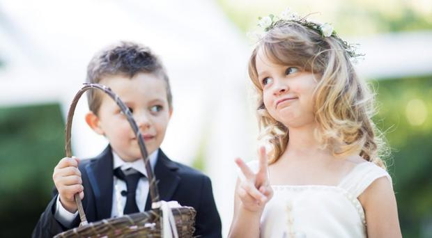 Flower girl and boy at a wedding