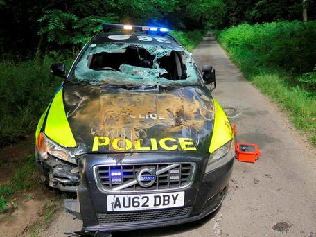 Damage caused to one of their patrol cars after a low-speed chase involving a stolen dumper truck. Photo: Norfolk Police/PA Wire