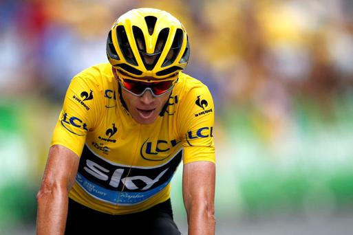 Team Sky rider Chris Froome cycles to cross the finish line of the 161-km (100 miles) 17th stage of the 102nd Tour de France cycling race from Digne-les-Bains to Pra Loup in the French Alps mountains, France, July 22, 2015. REUTERS/Benoit Tessier