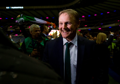 Joe Schmidt in Murrayfield after Ireland won the Six Nations earlier this year