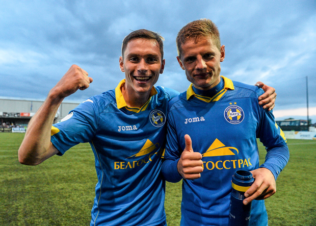 Mikalai Sihnevich and Kaspars Dubra of FC BATE Borisov, celebrate at the end of the game
