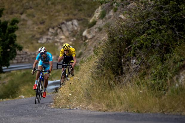 Vincenzo Nibali and Chris Froome ride during the 17th stage of the Tour