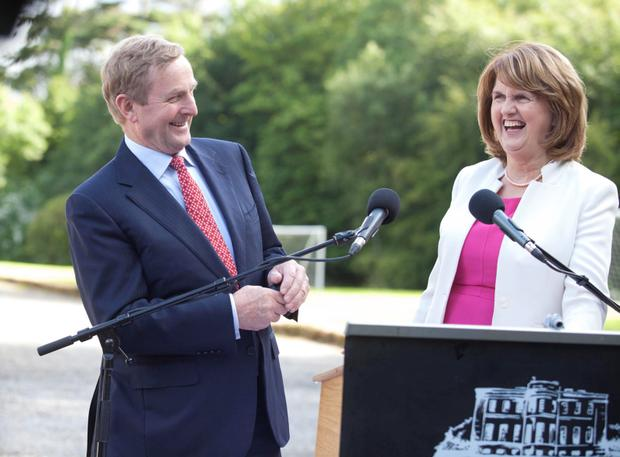 22/7/2015. Cabinet Meets At Lissadell. Taoiseach Enda Kenny and Tanaiste Joan Burton meet the media at the end of the cabinet meeting in Lissadell House in County Sligo. Photo: RollingNews.ie