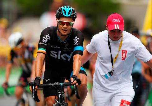 Nicolas Roche of Ireland and Team Sky crosses the finish line during Stage Seventeen ahead of Chris Froome and Team Sky in the 2015 Tour de France