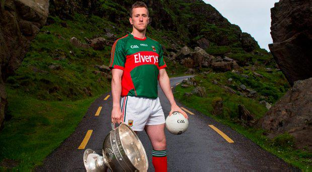 21 July 2015; Cillian O'Connor, Mayo, with the Sam Maguire Cup at the GAA Football All-Ireland Senior Championship Series 2015 launch. Gap of Dunloe, Killarney, Co. Kerry. Picture credit: Brendan Moran / SPORTSFILE