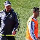 Real Madrid's manager Rafael Benitez and Cristiano Ronaldo during training