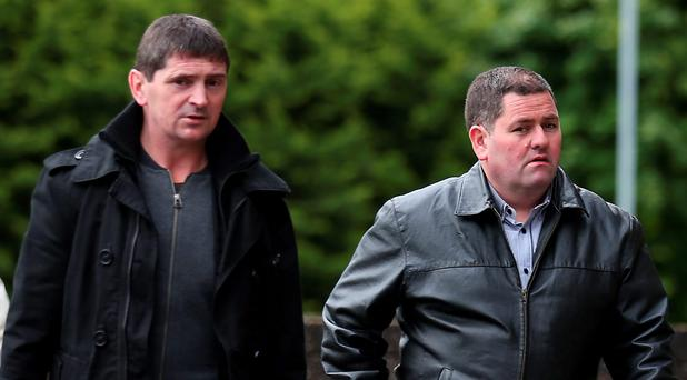 Matthew Telford (left) and Henry Toal arrive at Glasgow Sheriff Court for the inquiry into a bin lorry crash which killed six people days before Christmas. Photo: Andrew Milligan/PA Wire