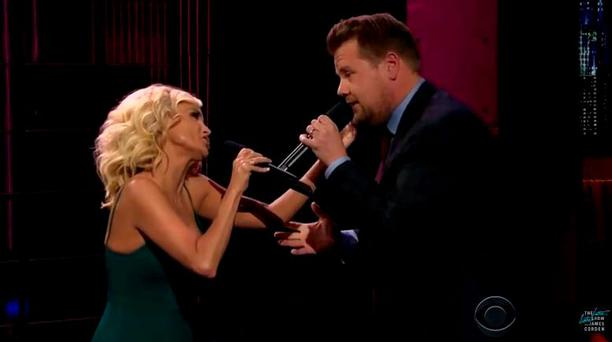 Kristin Chenoweth and James Cordon on the Late Late Show with James Cordon