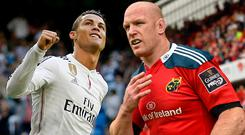 Real Madrid star Cristiano Ronaldo earns a reported €56m a year, with Paul O'Connell set for a salary of €955,000 with Top 14 giants Toulon.