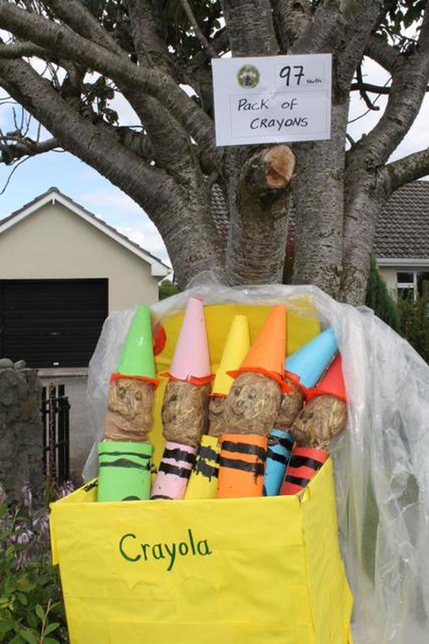 Aoibheann Lawlow's creation 'Pack of Crayons' came second in the Youth Award last year (Photo: Durrow Scarecrow Festival)