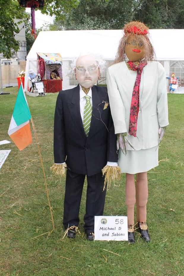 Look who it is... President Michael D Higgins popped down to the festival for a look last year. Rose Woods' creation won second place in Best Materials Used (Photo: Durrow Scarecrow Festival)